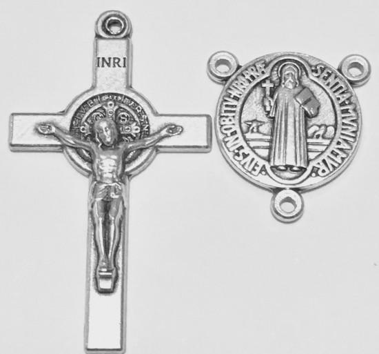 Croix métal Saint Benoît pour chapelet  3,5 x 2 cm.