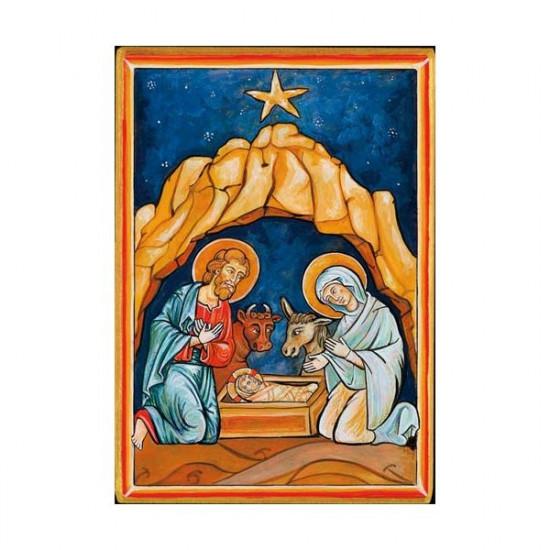 Icône  Nativité. Disponible en 2 tailles avec tranche dorée.