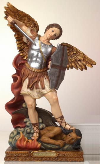Statue Saint Michel Archange. En résine, peint à la main. Hauteur: 11 cm.