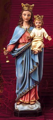 Statue Marie Auxiliatrice. En résine, peinte à la main. Hauteur 30 cm.