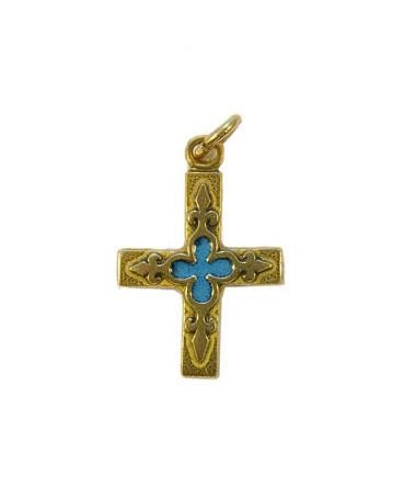 Croix pendentif laiton émaillé 3 cm blanche.