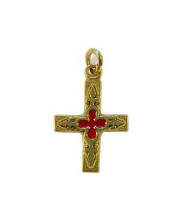 Croix pendentif laiton émaillé 3 cm .Bleue.