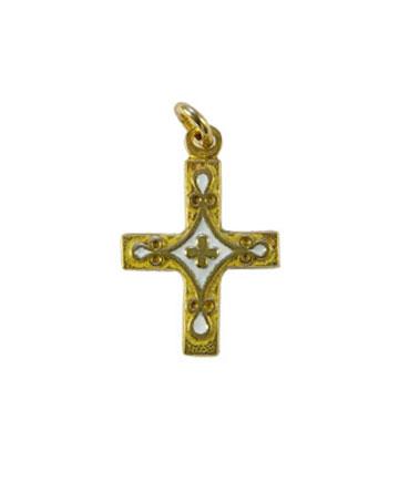 Croix pendentif laiton émaillé 3 cm bleue