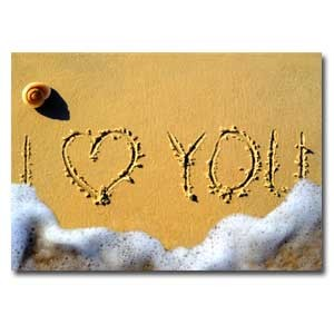 Carte double I love you sur le sable