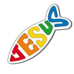 Autocollant : Ichtus Jésus 8 cm