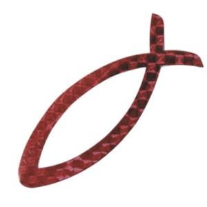Autocollant : Ichtus magnétique rouge
