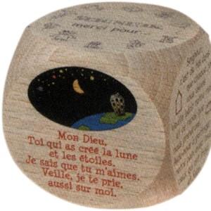 Dé en bois , 6 prières du soir 6 cm