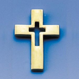 Pins Croix évidée dorée 1.5x2 cm