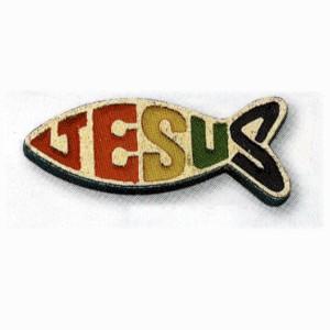 Pins Ichtus avec Jésus en couleur