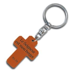 Porte-clés croix en bois Ps 23