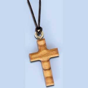 Collier croix en bois d'olivier 3.5cm