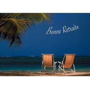 Carte double Bonne retraite Relax au bord de mer