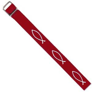 Bracelet tissé Ichtus rouge