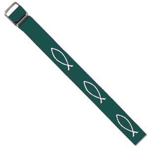 Bracelet tissé Ichtus vert