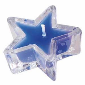 Bougeoir en verre en étoile bleu