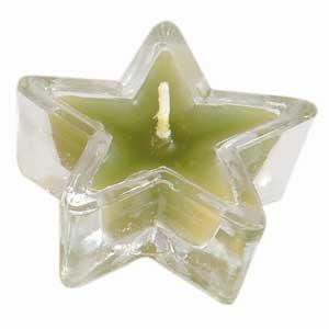 Bougeoir en verre en étoile vert