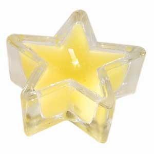 Bougeoir en verre en étoile jaune