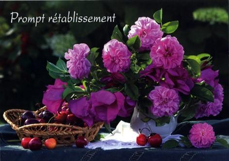 Carte avec message Bouquet de pivoines (Prompt rétablissement)