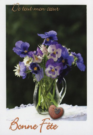 Carte double Bonne Fête Bouquet de pensées
