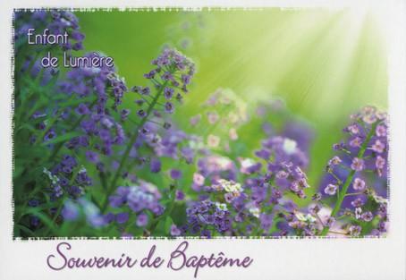 Carte double Baptême:  Rayons de soleil sur fleurs
