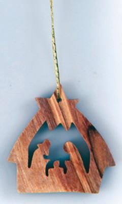 Mini crèche en bois d'olivier , à suspendre. 4 cm