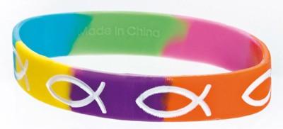 Bracelet silicone multicolore Ichtus blanc 180mm