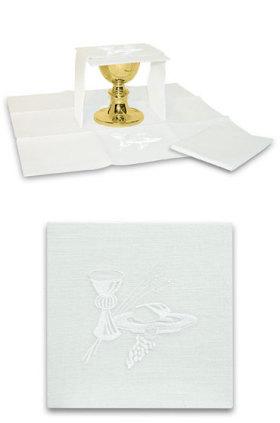 Ensemble complet linge d'autel lin mixte blanc
