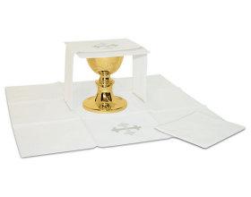 Ensemble complet linge d'autel  Batist blanc