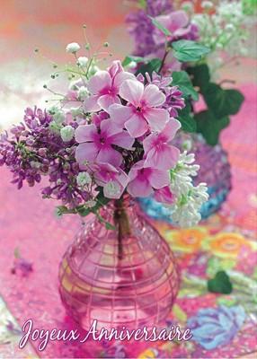Carte avec message Bouquet dans vase (JA)