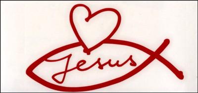 Autocollant : rouge Ichtus-Jesus-Coeur 8.5 cm