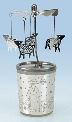 Photophore + carrousel moutons  h15cm