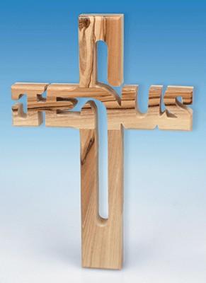 Croix JESUS en bois d'olivier