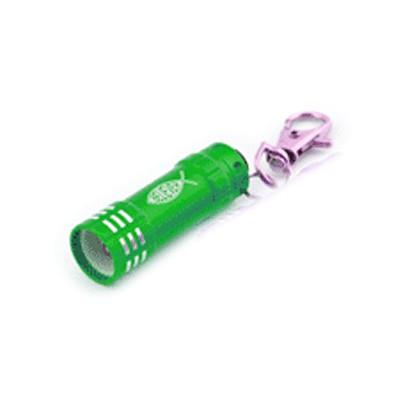 Lampe de poche Led verte avec mousqueton 5cm