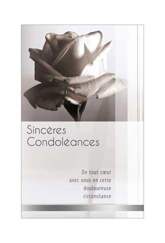 Mini carte double Condol?ances Rose