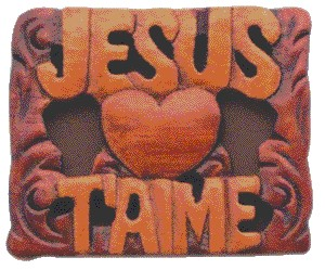 Magnets. JESUS T'AIME en bois