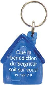 Porte-clés maison bleue Que la bénédiction...