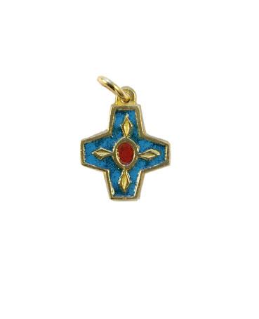 Croix pendentif bronze émaillé. 2 cm, bleue.