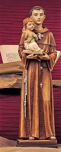 Statue Saint Antoinede Padoue. En résine. Peint à la main.  Hauteur: 20 cm.